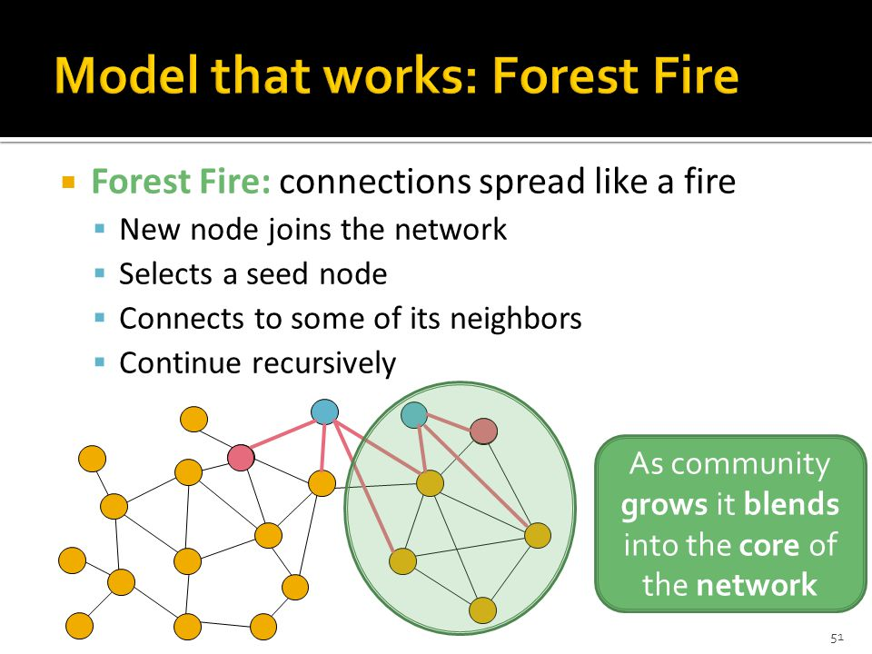  Forest Fire: connections spread like a fire  New node joins the network  Selects a seed node  Connects to some of its neighbors  Continue recursively As community grows it blends into the core of the network 51