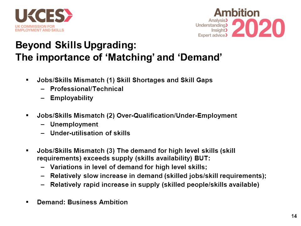 14  Jobs/Skills Mismatch (1) Skill Shortages and Skill Gaps –Professional/Technical –Employability  Jobs/Skills Mismatch (2) Over-Qualification/Under-Employment –Unemployment –Under-utilisation of skills  Jobs/Skills Mismatch (3) The demand for high level skills (skill requirements) exceeds supply (skills availability) BUT: –Variations in level of demand for high level skills; –Relatively slow increase in demand (skilled jobs/skill requirements); –Relatively rapid increase in supply (skilled people/skills available)  Demand: Business Ambition Beyond Skills Upgrading: The importance of 'Matching' and 'Demand'