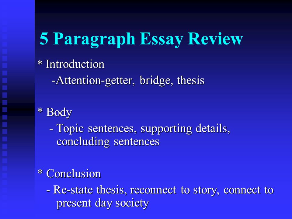 5 paragraph essay topics Law, mr - 7th grade language arts you are to use this format every time you write a 5 paragraph essay in this b includes a topic sentence for each paragraph.