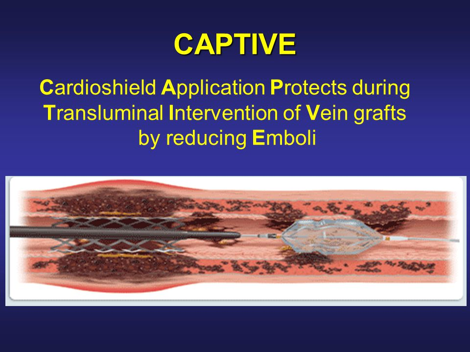 CAPTIVE Cardioshield Application Protects during Transluminal Intervention of Vein grafts by reducing Emboli