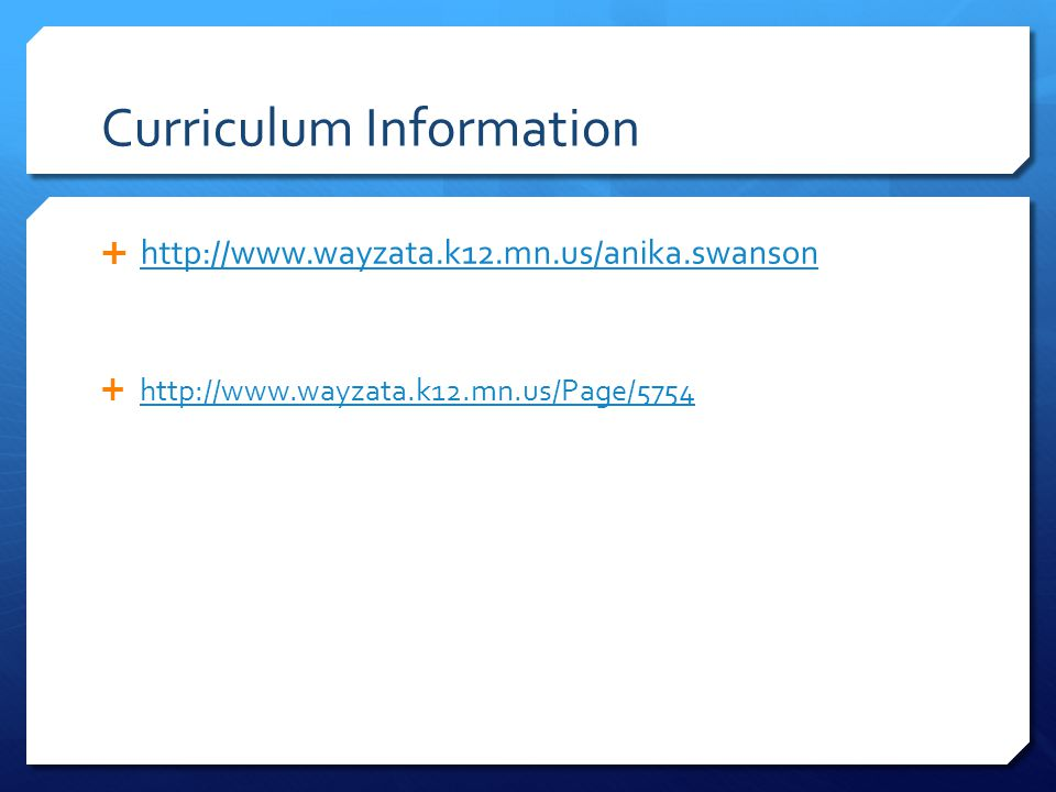 Curriculum Information      