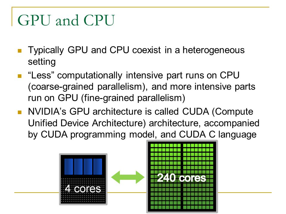 GPU and CPU Typically GPU and CPU coexist in a heterogeneous setting Less computationally intensive part runs on CPU (coarse-grained parallelism), and more intensive parts run on GPU (fine-grained parallelism) NVIDIA's GPU architecture is called CUDA (Compute Unified Device Architecture) architecture, accompanied by CUDA programming model, and CUDA C language