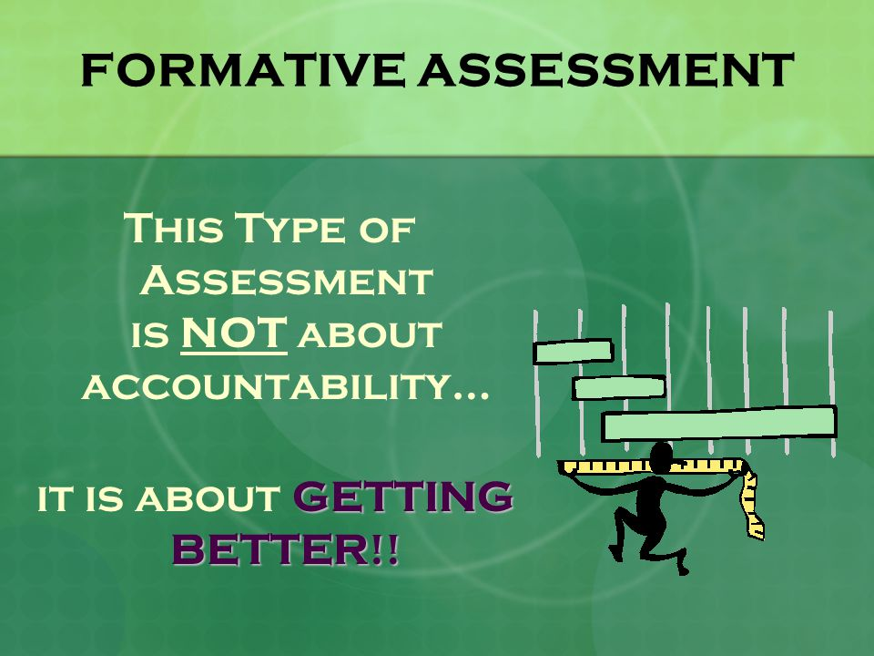 FORMATIVE ASSESSMENT This Type of Assessment is NOT about accountability… GETTING BETTER!.