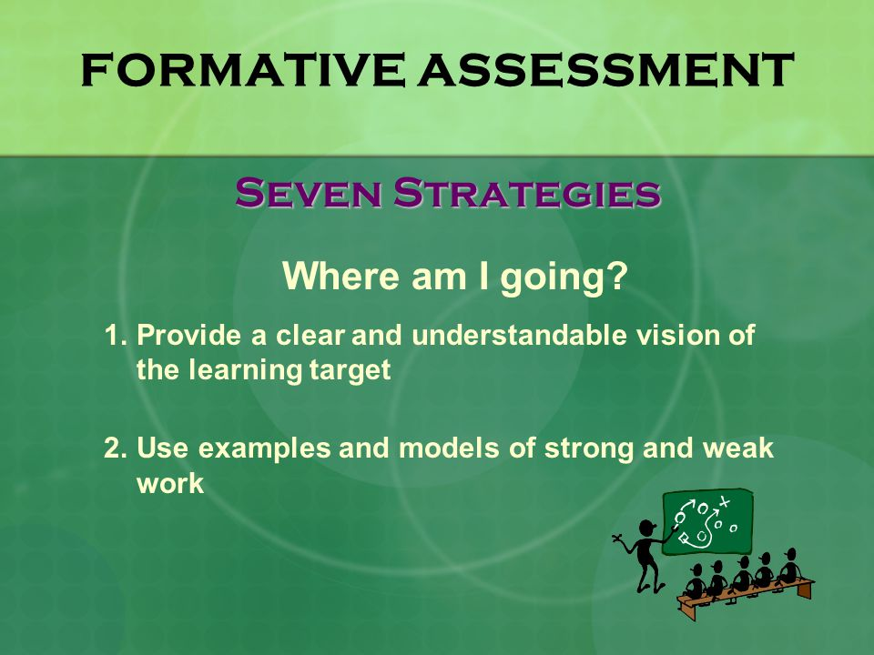 FORMATIVE ASSESSMENT Seven Strategies Where am I going.
