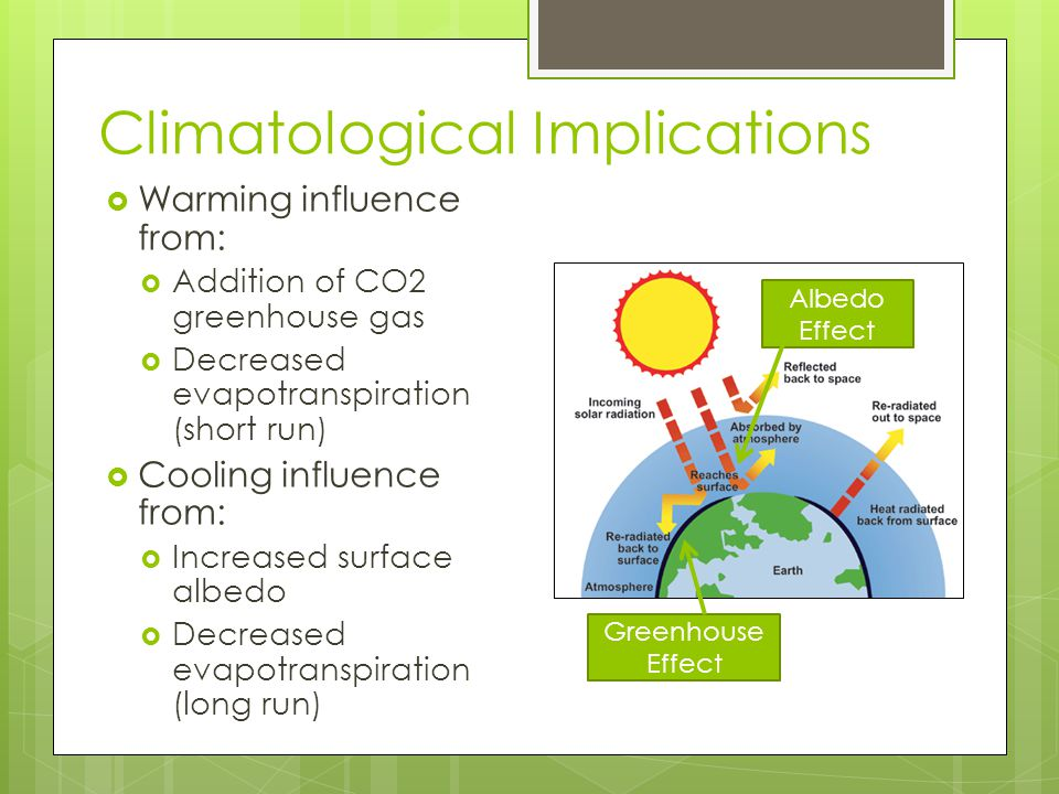 Climatological Implications  Warming influence from:  Addition of CO2 greenhouse gas  Decreased evapotranspiration (short run)  Cooling influence from:  Increased surface albedo  Decreased evapotranspiration (long run) Greenhouse Effect Albedo Effect