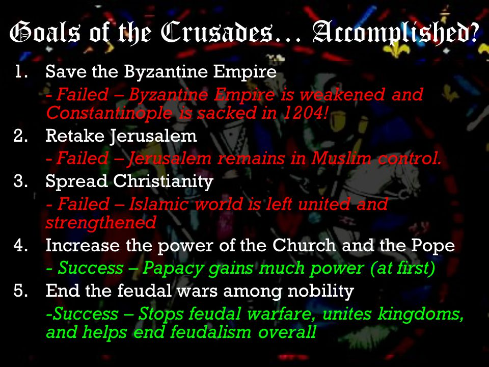 And the rest… There were several other Crusades of varying focus and success.