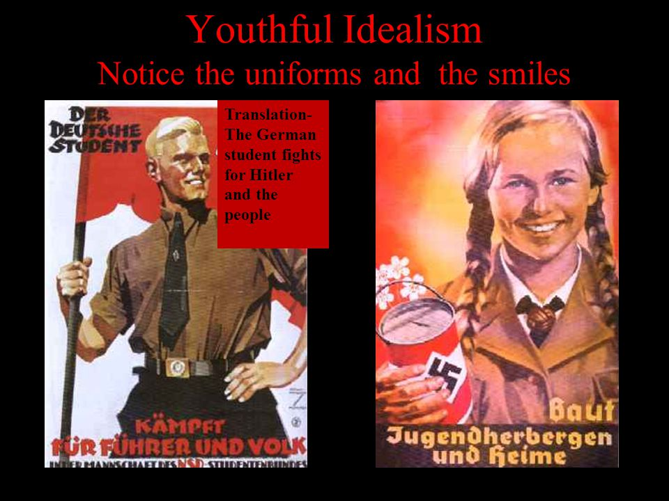 Youthful Idealism Notice the uniforms and the smiles Translation- The German student fights for Hitler and the people