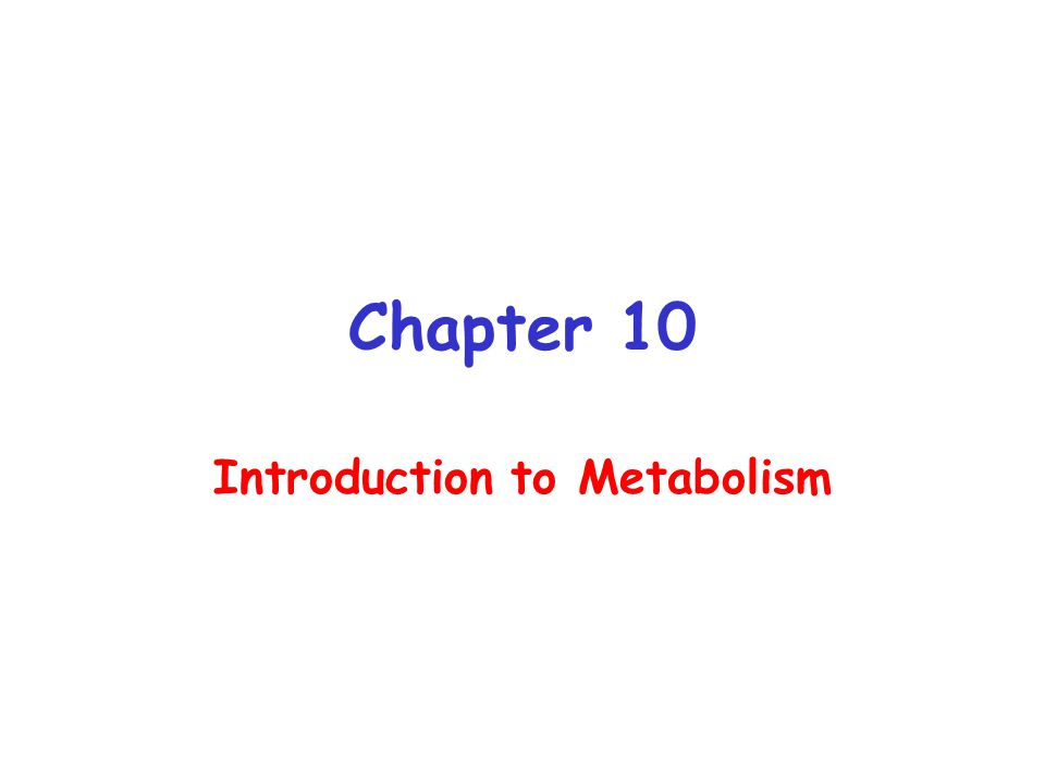 Chapter 10 Introduction to Metabolism