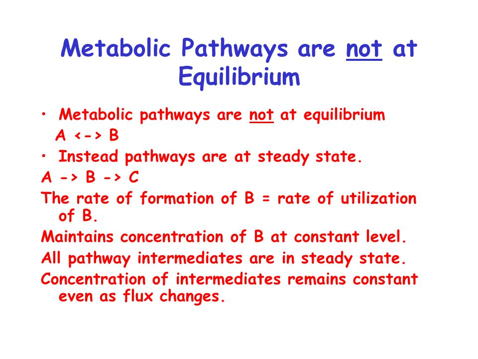 Metabolic Pathways are not at Equilibrium Metabolic pathways are not at equilibrium A B Instead pathways are at steady state.