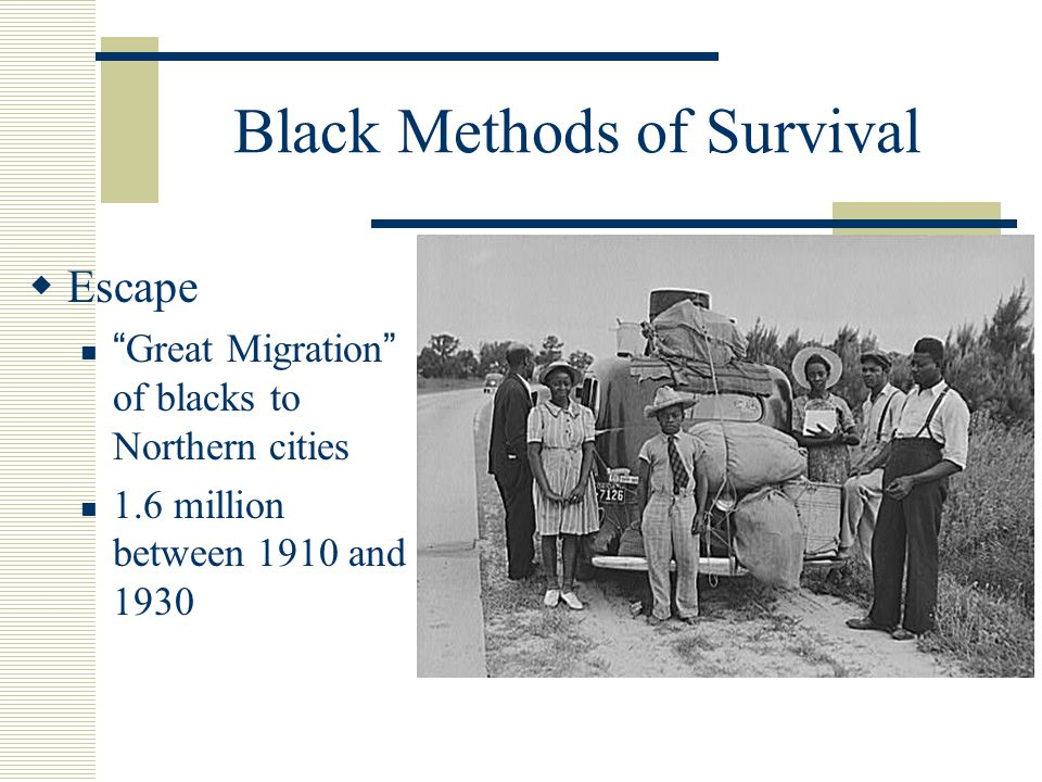 Black Methods of Survival  Escape Great Migration of blacks to Northern cities 1.6 million between 1910 and 1930
