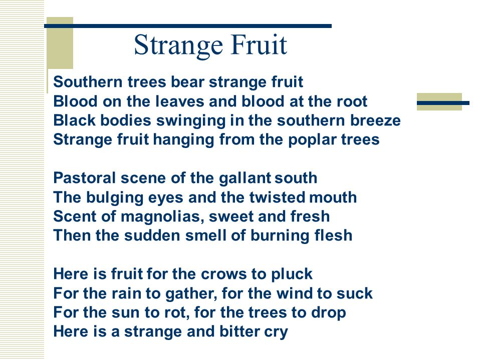 Strange Fruit Southern trees bear strange fruit Blood on the leaves and blood at the root Black bodies swinging in the southern breeze Strange fruit hanging from the poplar trees Pastoral scene of the gallant south The bulging eyes and the twisted mouth Scent of magnolias, sweet and fresh Then the sudden smell of burning flesh Here is fruit for the crows to pluck For the rain to gather, for the wind to suck For the sun to rot, for the trees to drop Here is a strange and bitter cry
