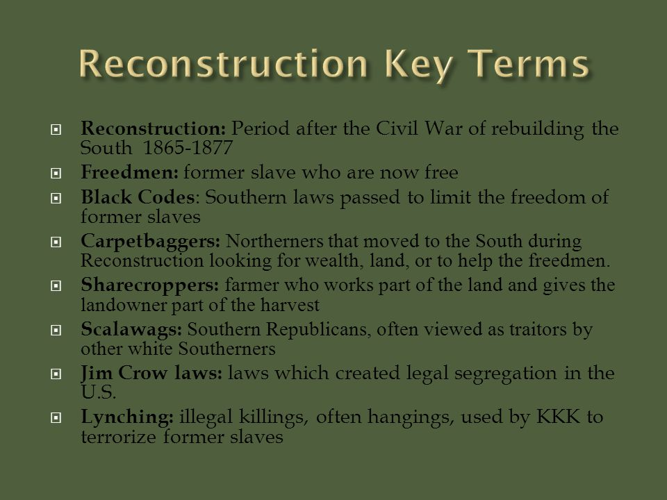 the union undergoes changes during the civil war and reconstruction periods Immigrants played leading roles in the civil war and the reconstruction of the south apart from slavery  confederate and union territories during civil war.