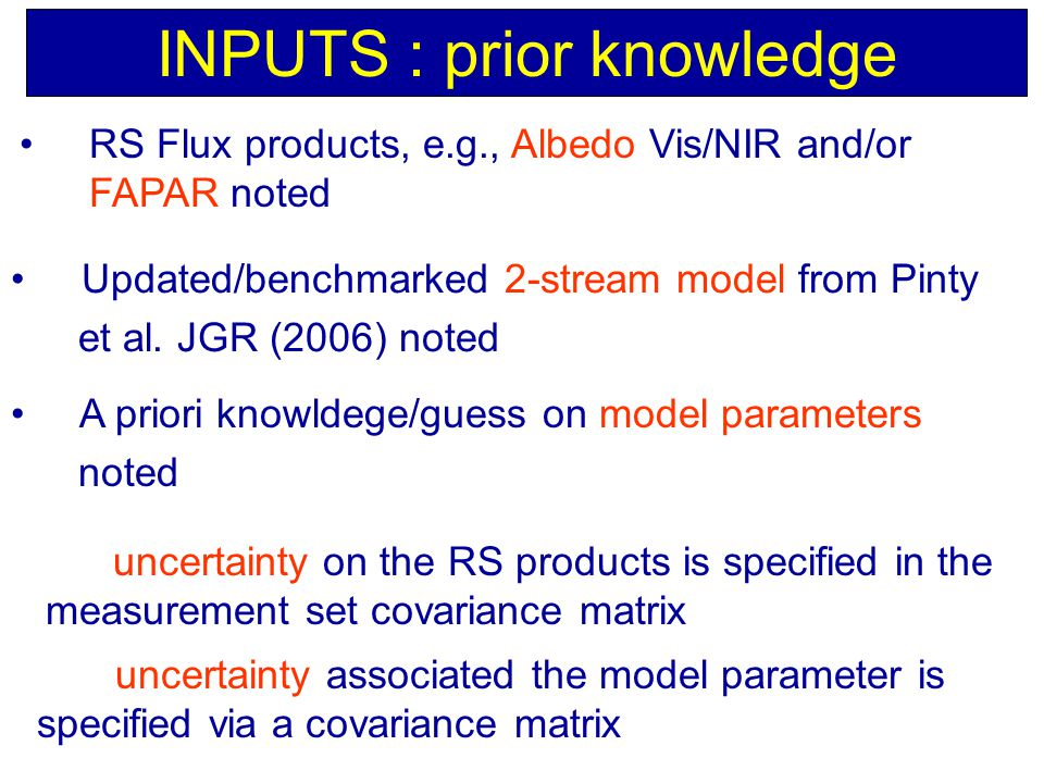 INPUTS : prior knowledge Updated/benchmarked 2-stream model from Pinty et al.