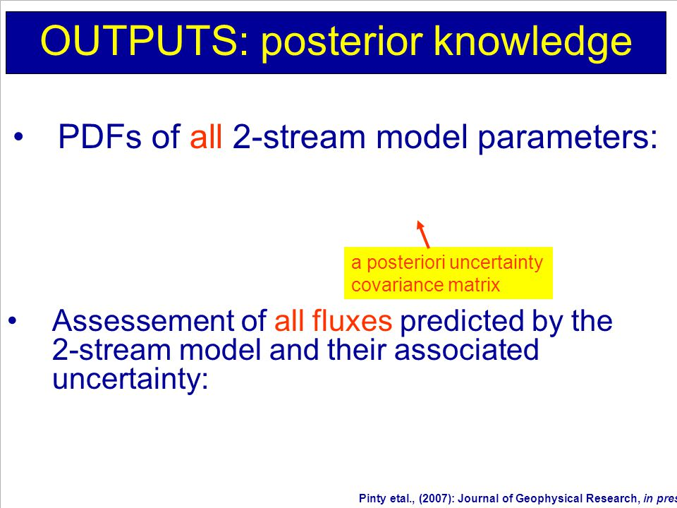 OUTPUTS: posterior knowledge Assessement of all fluxes predicted by the 2-stream model and their associated uncertainty: PDFs of all 2-stream model parameters: a posteriori uncertainty covariance matrix Pinty etal., (2007): Journal of Geophysical Research, in press