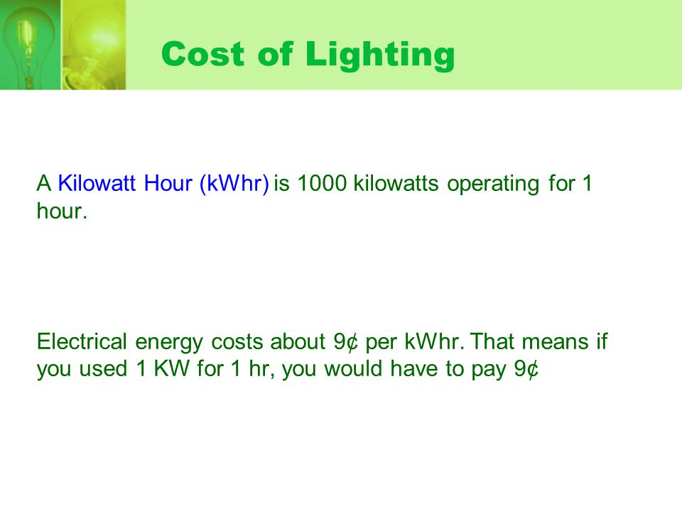 Cost of Lighting Different sources of light cost.