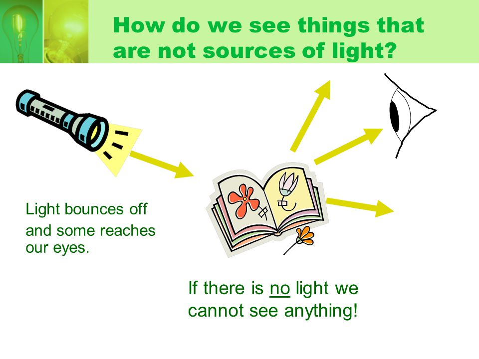 How do we see light sources. Light travels from a source to our eyes.