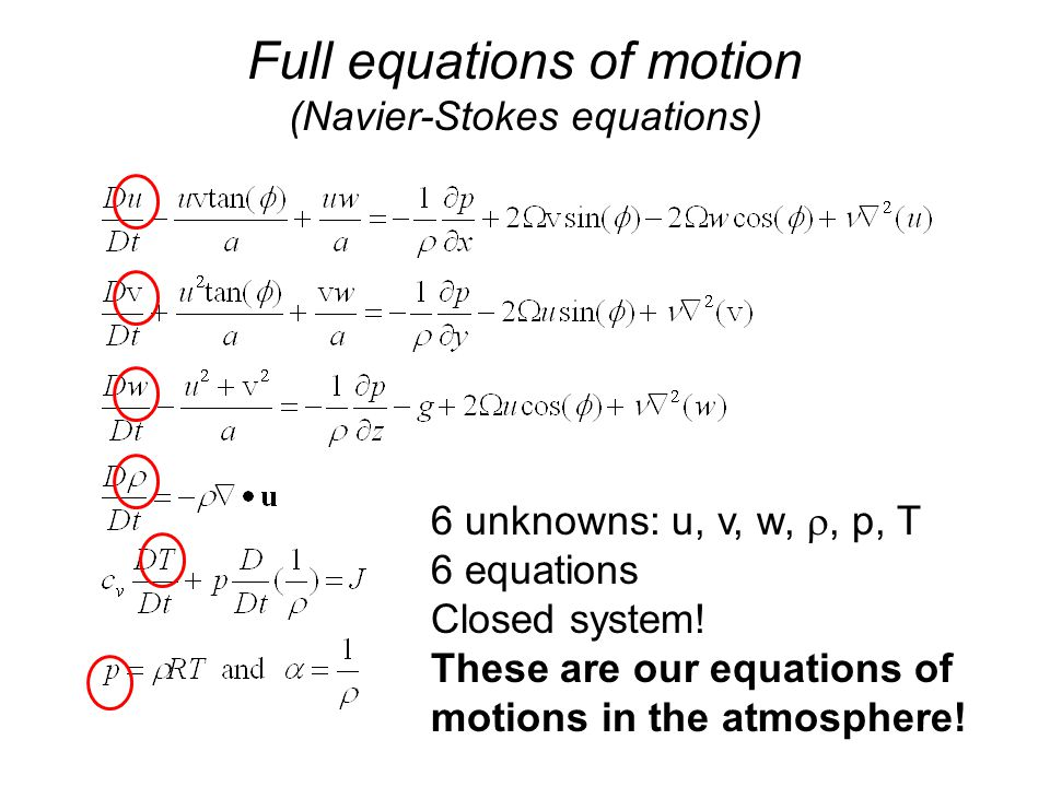 Full equations of motion (Navier-Stokes equations) 6 unknowns: u, v, w, , p, T 6 equations Closed system.