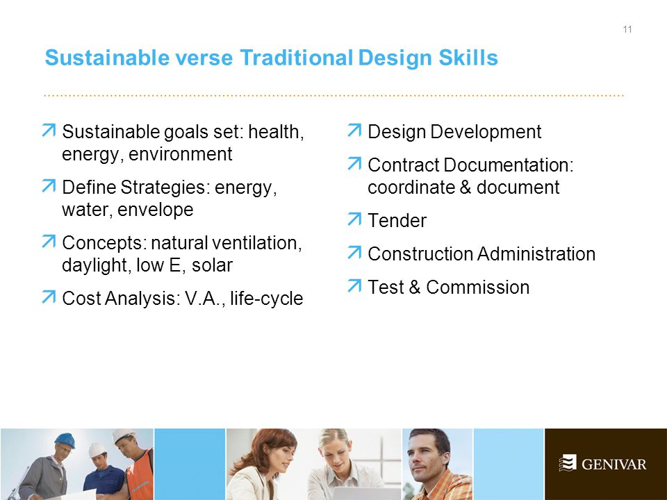 Sustainable verse Traditional Design Skills 11  Sustainable goals set: health, energy, environment  Define Strategies: energy, water, envelope  Concepts: natural ventilation, daylight, low E, solar  Cost Analysis: V.A., life-cycle  Design Development  Contract Documentation: coordinate & document  Tender  Construction Administration  Test & Commission