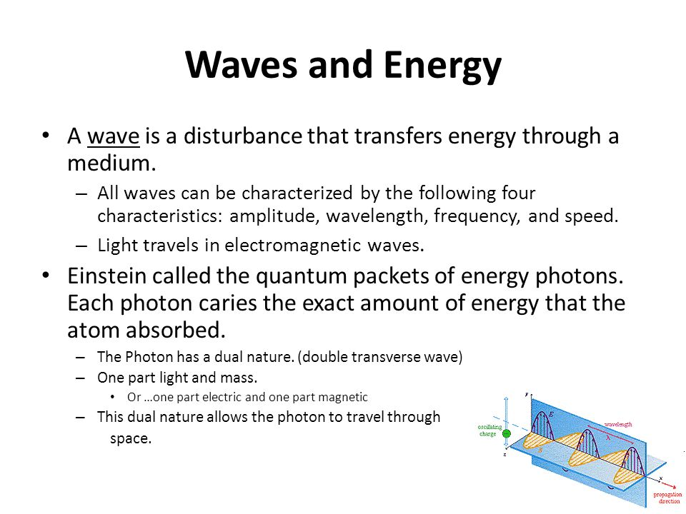 Radiant Energy Objectives: 1. Describe a wave in terms of its ...