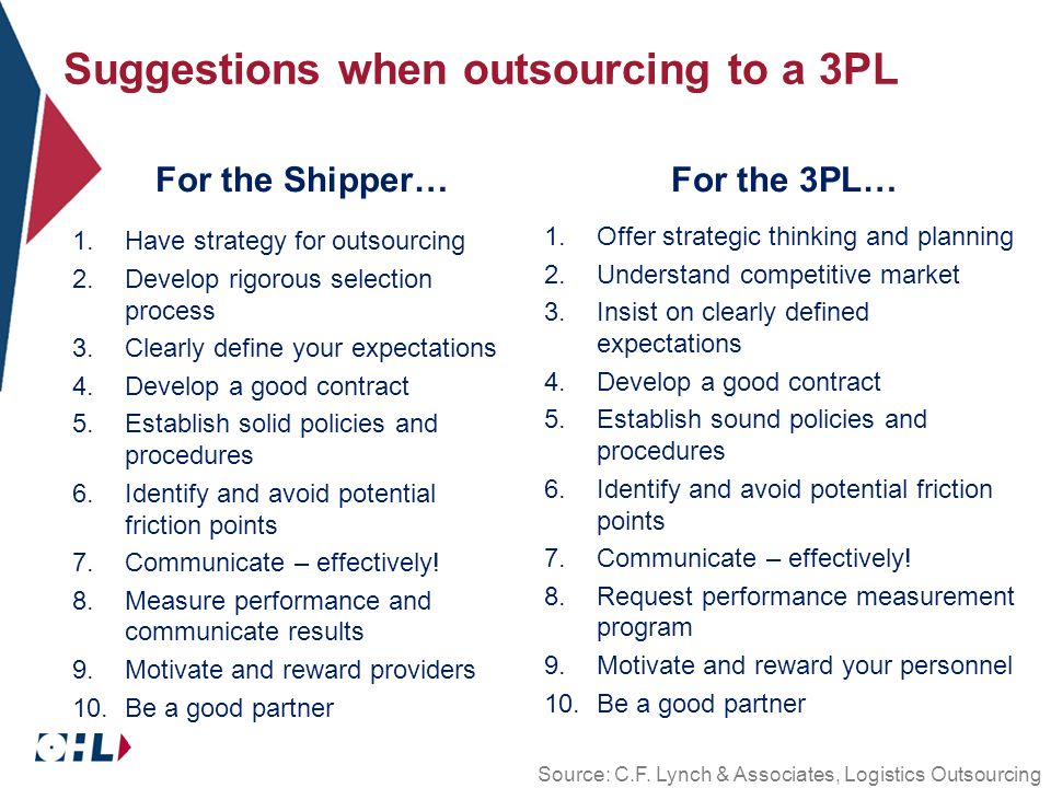 Suggestions when outsourcing to a 3PL For the Shipper… 1.Have strategy for outsourcing 2.Develop rigorous selection process 3.Clearly define your expectations 4.Develop a good contract 5.Establish solid policies and procedures 6.Identify and avoid potential friction points 7.Communicate – effectively.