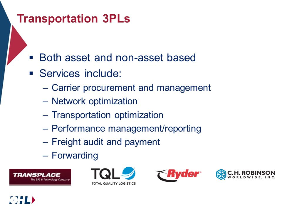 Transportation 3PLs  Both asset and non-asset based  Services include: –Carrier procurement and management –Network optimization –Transportation optimization –Performance management/reporting –Freight audit and payment –Forwarding