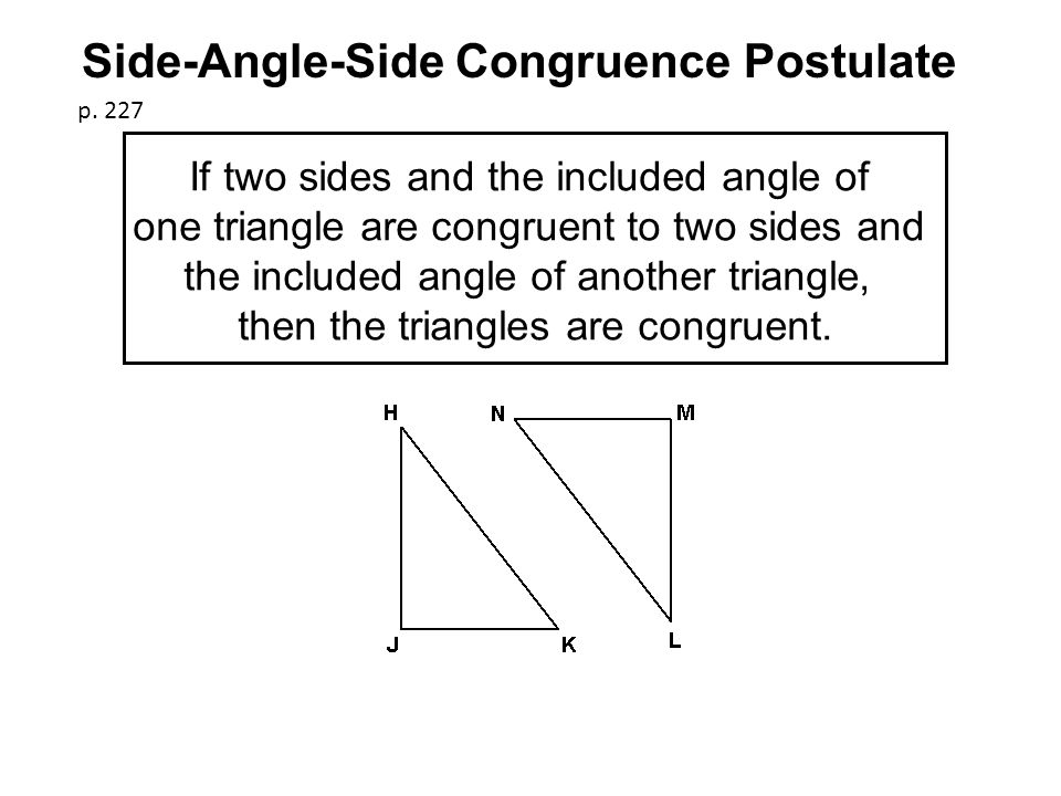 If two sides and the included angle of one triangle are congruent to two sides and the included angle of another triangle, then the triangles are congruent.