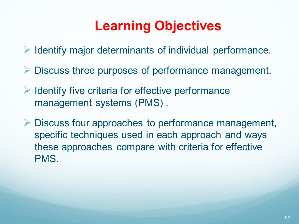 Learning Objectives  Identify major determinants of individual performance.