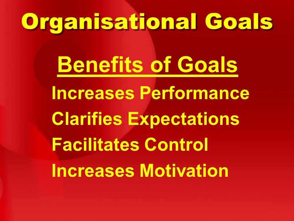 Organisational Goals Benefits of Goals Increases Performance Clarifies Expectations Facilitates Control Increases Motivation