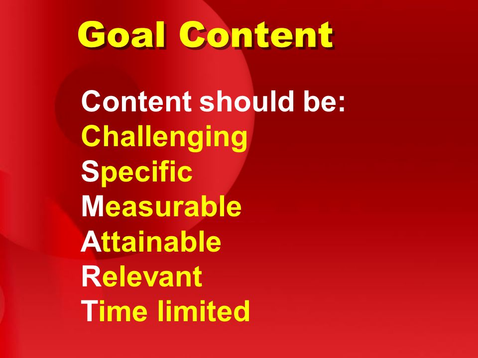 Goal Content Content should be: Challenging Specific Measurable Attainable Relevant Time limited