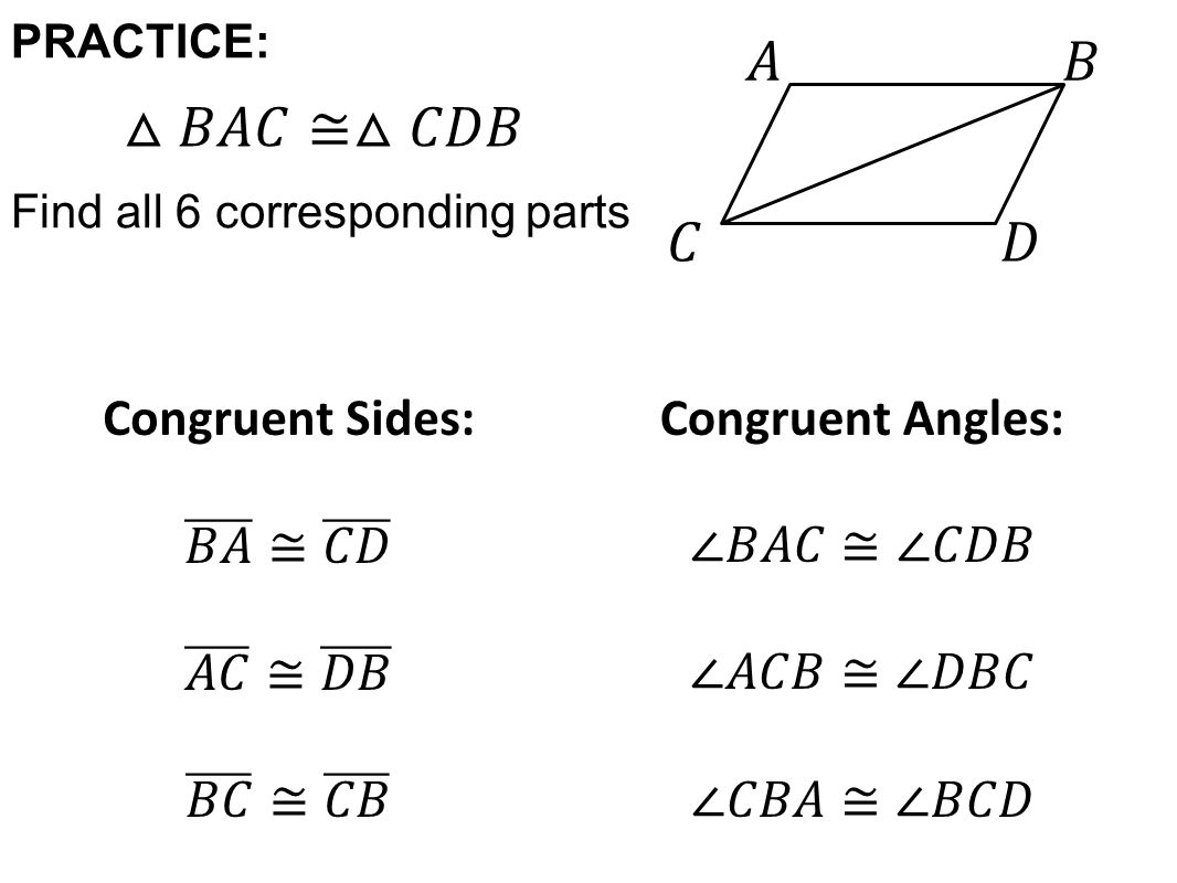 worksheet Corresponding Parts Of Congruent Triangles Worksheet today in review finding congruent angles and sides 2 practice find all 6 corresponding parts