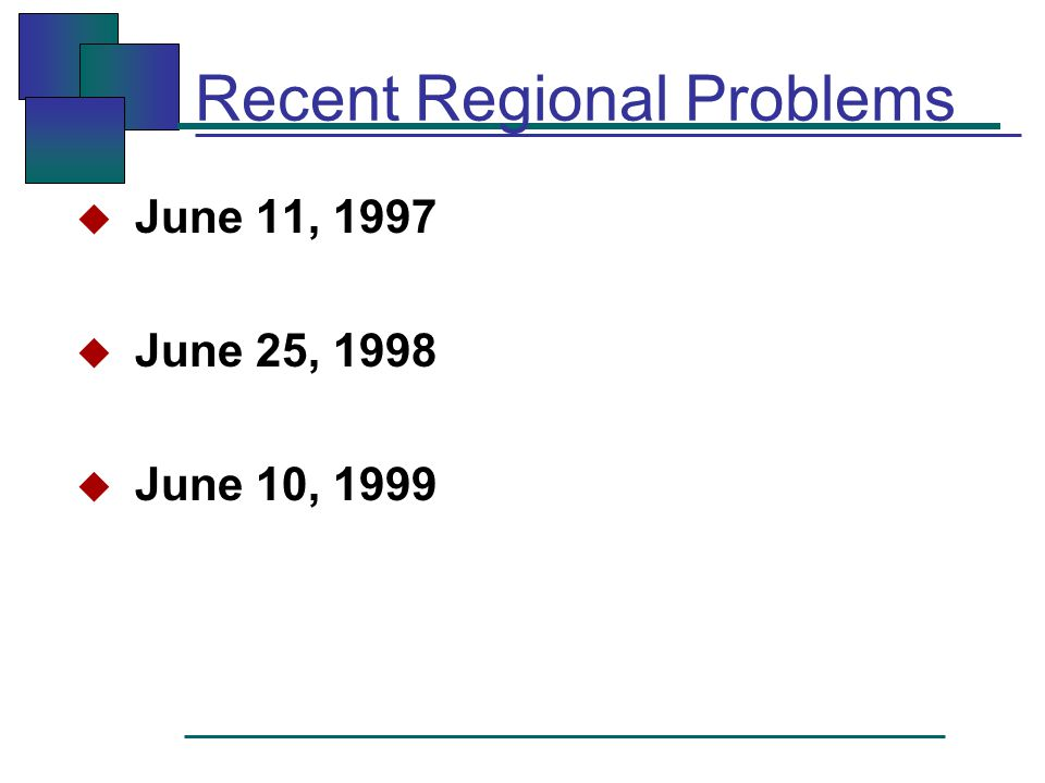 Recent Regional Problems  June 11, 1997  June 25, 1998  June 10, 1999