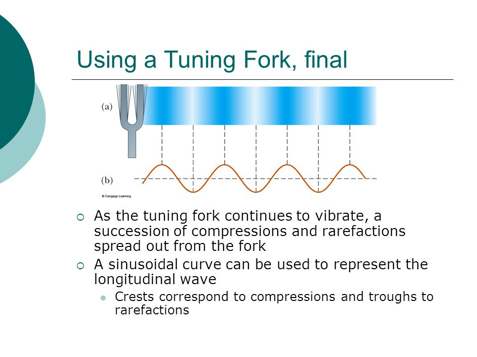Using a Tuning Fork, final  As the tuning fork continues to vibrate, a succession of compressions and rarefactions spread out from the fork  A sinusoidal curve can be used to represent the longitudinal wave Crests correspond to compressions and troughs to rarefactions