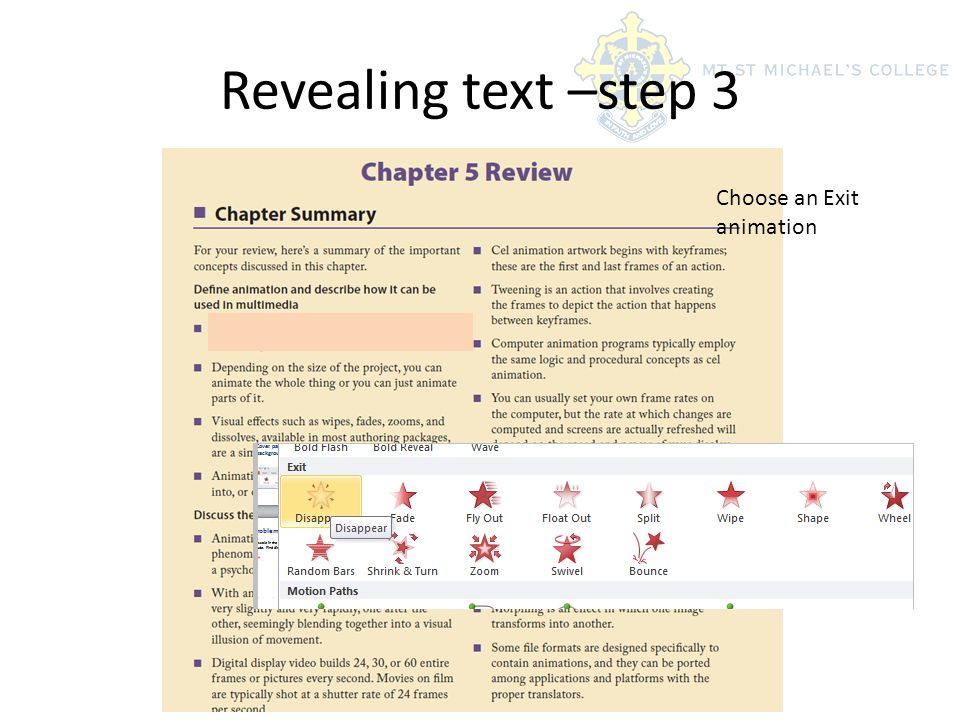 Revealing text –step 3 Choose an Exit animation