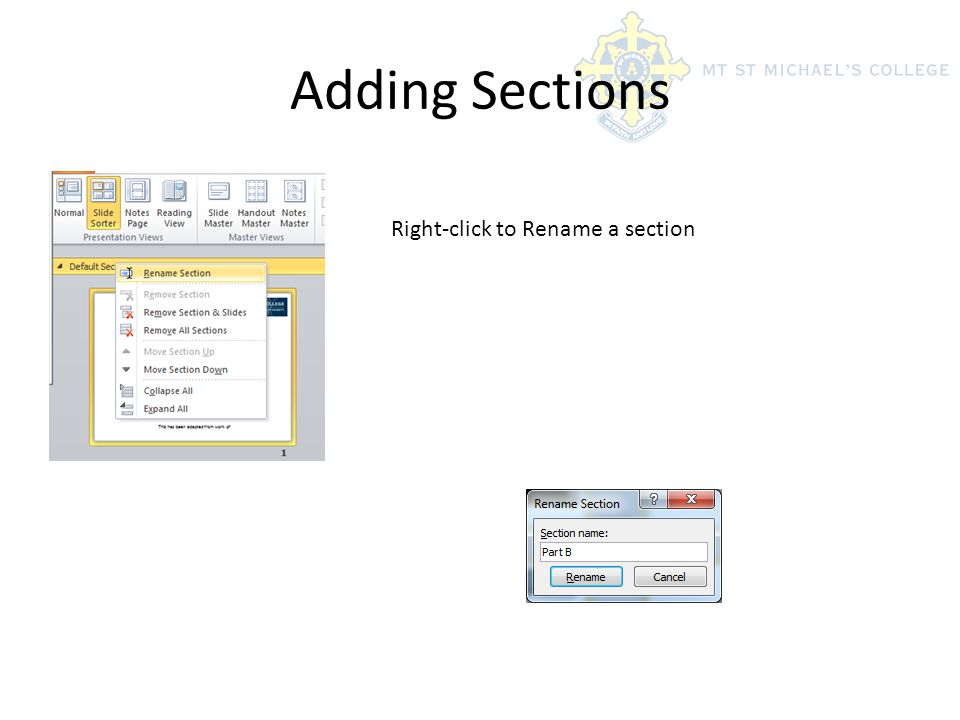 Adding Sections Right-click to Rename a section