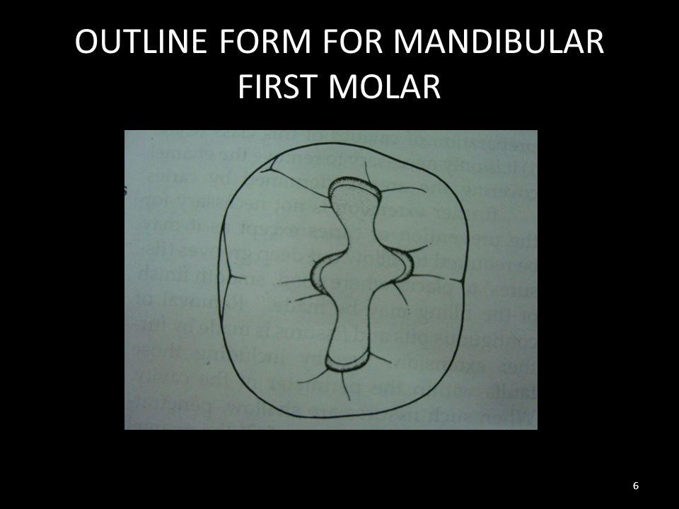 OUTLINE FORM FOR MANDIBULAR FIRST MOLAR 6