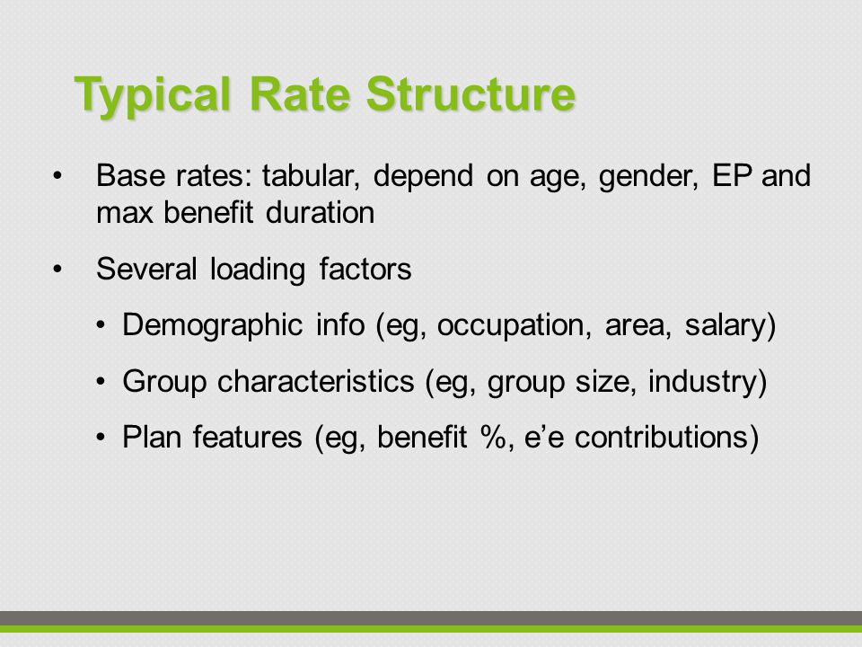 Base rates: tabular, depend on age, gender, EP and max benefit duration Several loading factors Demographic info (eg, occupation, area, salary) Group characteristics (eg, group size, industry) Plan features (eg, benefit %, e'e contributions) Typical Rate Structure