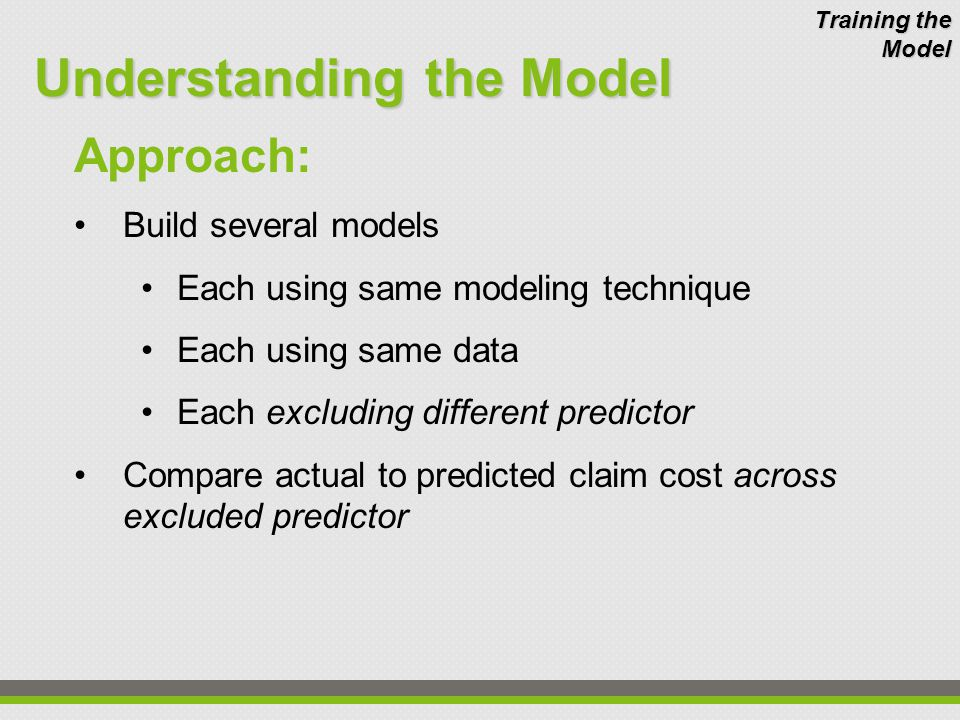Approach: Build several models Each using same modeling technique Each using same data Each excluding different predictor Compare actual to predicted claim cost across excluded predictor Understanding the Model Training the Model