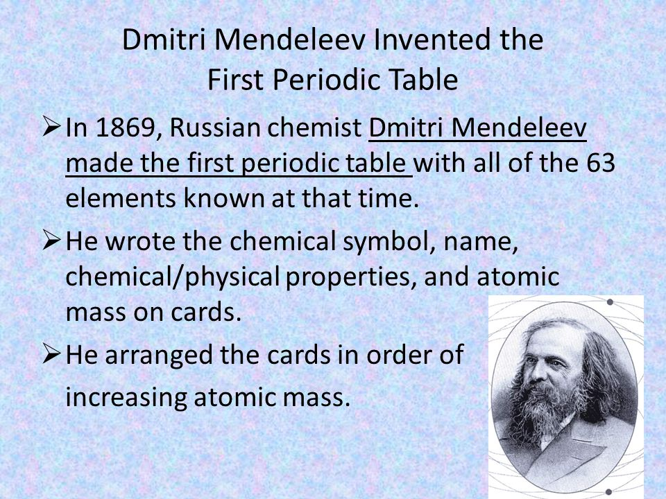 Friday nov 22 nd a day monday nov 25 th b day agenda dmitri mendeleev invented the first periodic table in 1869 russian chemist dmitri mendeleev made urtaz Gallery
