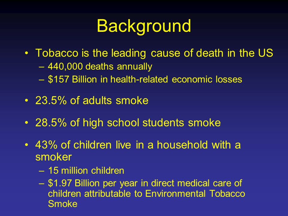Background Tobacco is the leading cause of death in the US –440,000 deaths annually –$157 Billion in health-related economic losses 23.5% of adults smoke 28.5% of high school students smoke 43% of children live in a household with a smoker –15 million children –$1.97 Billion per year in direct medical care of children attributable to Environmental Tobacco Smoke