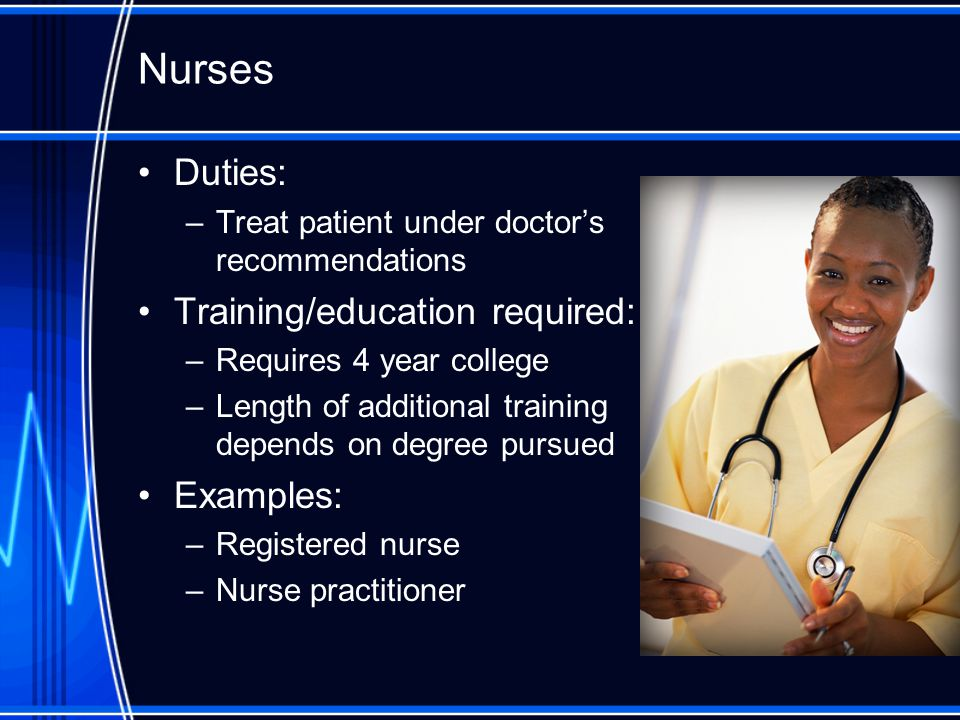 Nurses Duties: –Treat patient under doctor's recommendations Training/education required: –Requires 4 year college –Length of additional training depends on degree pursued Examples: –Registered nurse –Nurse practitioner