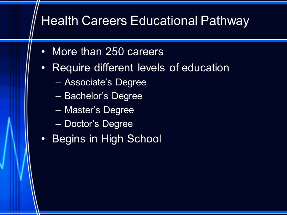 More than 250 careers Require different levels of education –Associate's Degree –Bachelor's Degree –Master's Degree –Doctor's Degree Begins in High School Health Careers Educational Pathway