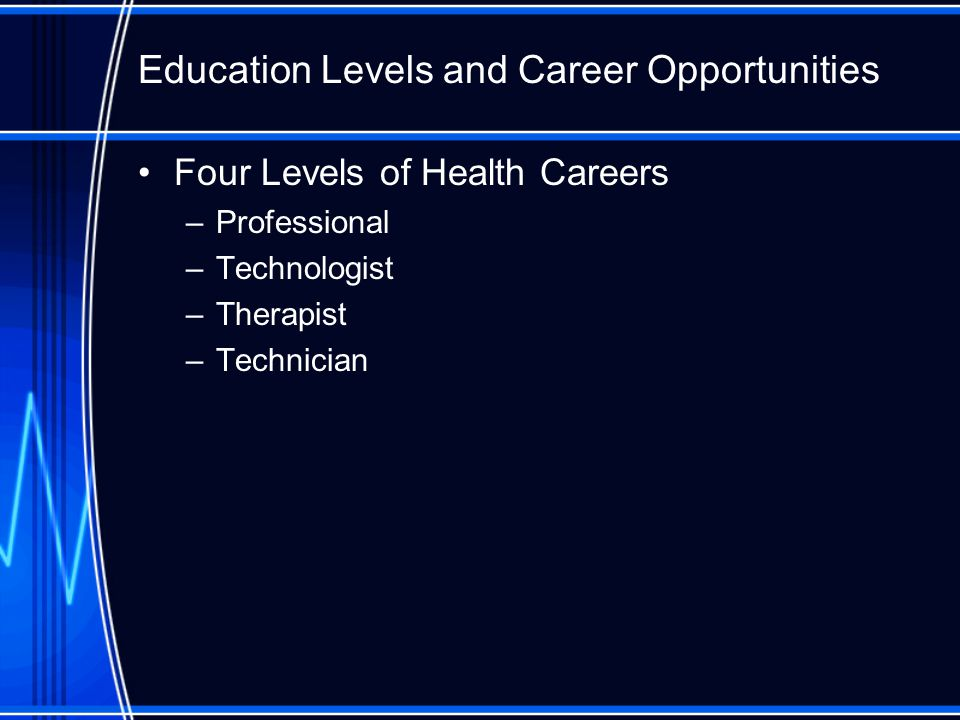 Four Levels of Health Careers –Professional –Technologist –Therapist –Technician Education Levels and Career Opportunities