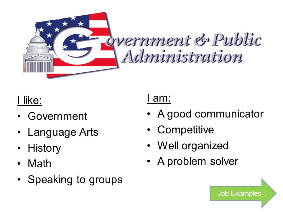 I like: Government Language Arts History Math Speaking to groups I am: A good communicator Competitive Well organized A problem solver Job Examples