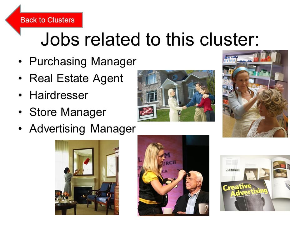 Jobs related to this cluster: Purchasing Manager Real Estate Agent Hairdresser Store Manager Advertising Manager Back to Clusters