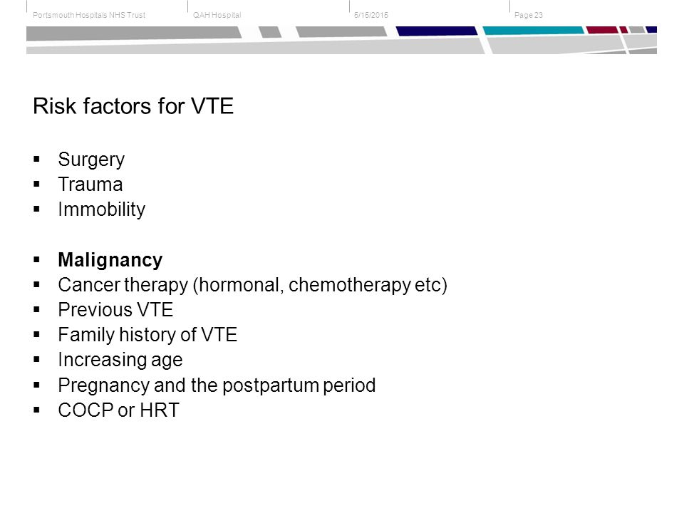 QAH HospitalPortsmouth Hospitals NHS Trust Page 235/15/2015 Risk factors for VTE  Surgery  Trauma  Immobility  Malignancy  Cancer therapy (hormonal, chemotherapy etc)  Previous VTE  Family history of VTE  Increasing age  Pregnancy and the postpartum period  COCP or HRT