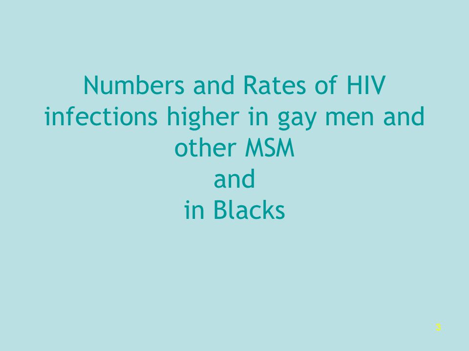 3 Numbers and Rates of HIV infections higher in gay men and other MSM and in Blacks
