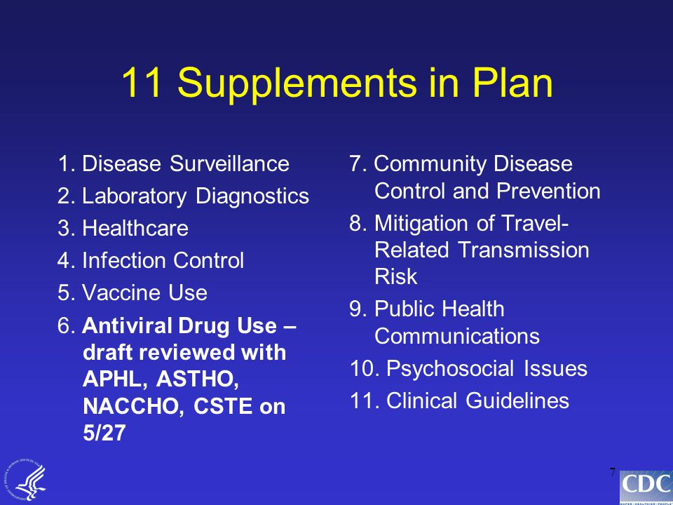 7 11 Supplements in Plan 1. Disease Surveillance 2.