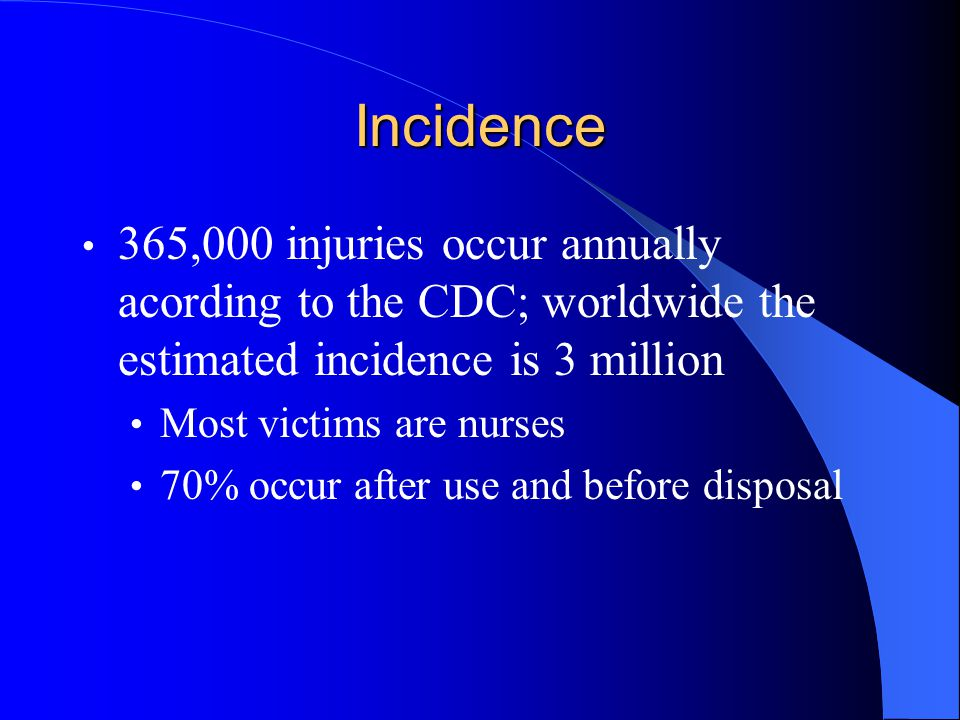Incidence 365,000 injuries occur annually acording to the CDC; worldwide the estimated incidence is 3 million Most victims are nurses 70% occur after use and before disposal