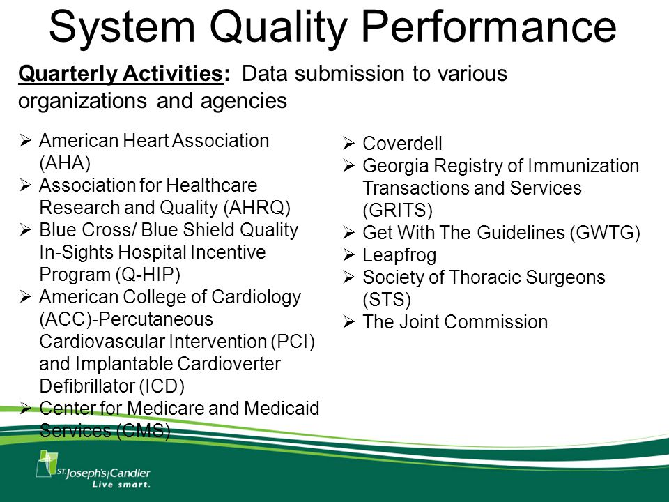 System Quality Performance  American Heart Association (AHA)  Association for Healthcare Research and Quality (AHRQ)  Blue Cross/ Blue Shield Quality In-Sights Hospital Incentive Program (Q-HIP)  American College of Cardiology (ACC)-Percutaneous Cardiovascular Intervention (PCI) and Implantable Cardioverter Defibrillator (ICD)  Center for Medicare and Medicaid Services (CMS) Quarterly Activities: Data submission to various organizations and agencies  Coverdell  Georgia Registry of Immunization Transactions and Services (GRITS)  Get With The Guidelines (GWTG)  Leapfrog  Society of Thoracic Surgeons (STS)  The Joint Commission