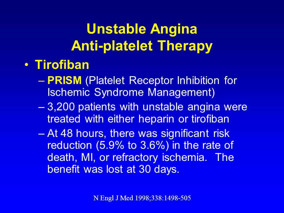 Unstable Angina Anti-platelet Therapy Tirofiban –PRISM (Platelet Receptor Inhibition for Ischemic Syndrome Management) –3,200 patients with unstable angina were treated with either heparin or tirofiban –At 48 hours, there was significant risk reduction (5.9% to 3.6%) in the rate of death, MI, or refractory ischemia.